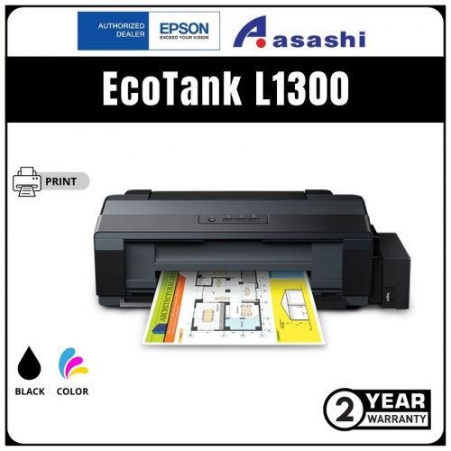 Epson L1300 STD A3+, 4 Colour , Black speed 15.0 ipm, Color speed 5.5 ipm, InkTank Printer (Warranty 1Years + 1Years online Register @ 9,000 Pages Printing)