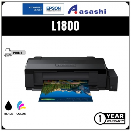 Epson L1800 A3+, 6 Colour Photo Print, 45sec default 4R print speed (C11CD82501) Printer (Warranty 1Years + 1Years online Register @ 9,000 Pages Printing)