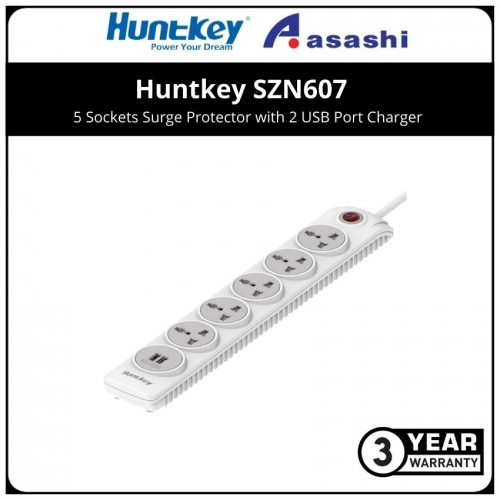 Huntkey SZN607 5 Sockets Surge Protector with 2 USB Port Charger (3 yrs Limited Hardware Warranty)