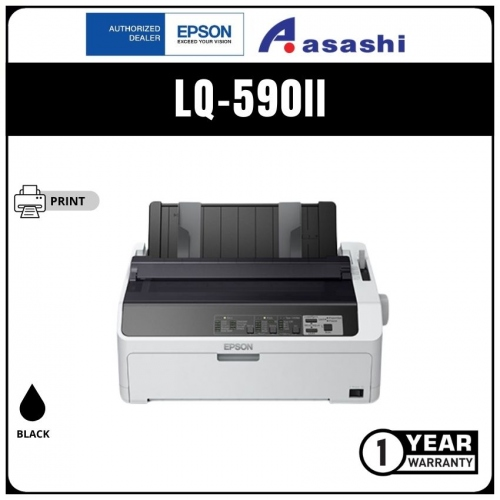 Epson LQ-590II Dot Matrix Printer - 24-pin, 80 columns, 487cps (high speed draft@10cpi), 1+6 copies, USB 2.0, parallel, No Network Support