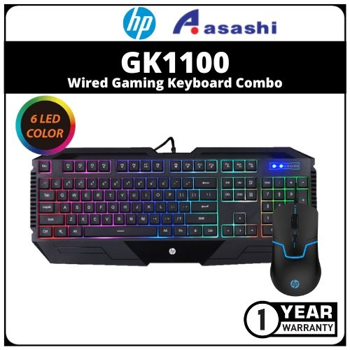 HP GK1100-Black Wired Gaming Keyboard Combo (1 yrs Limited Hardware Warranty)
