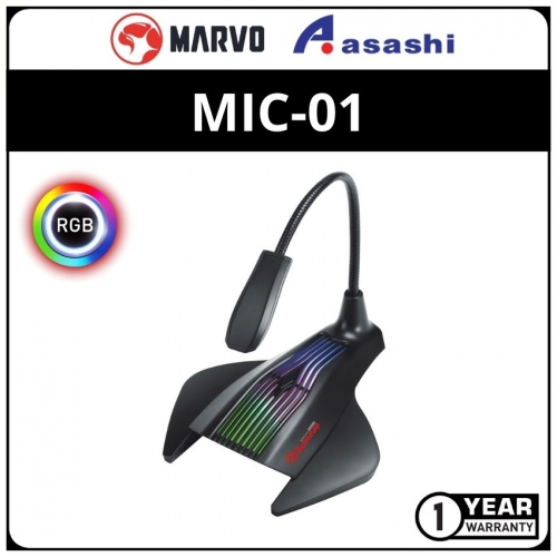 Marvo MIC-01 USB Powered 7-Color and RGB LED gaming Microphone(1 yrs Limited Hardware Warranty)