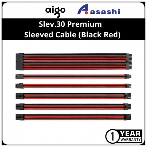 Slev.30 Premium Pre-Braided Modding Sleeved Cable (Black Red)