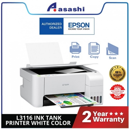 Epson L3116 Ink Tank Printer White Clour (Warranty 1Years + 1Years online Register @ 30,000 Pages Printing)