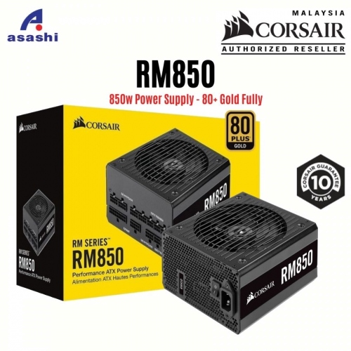 CORSAIR RM Series RM850 850w Power Supply - 80+ Gold, Fully Modular, Taiwan Capacitors, 10 Years Warranty