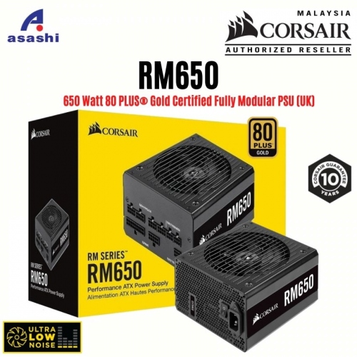CORSAIR RM Series RM650 650w Power Supply - 80+ Gold, Fully Modular, Taiwan Capacitors, 10 Years Warranty