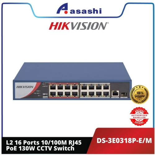 Hikvision DS-3E0318P-E/M L2 16 Ports 100 Mbps Unmanaged PoE 250M Long Distance Transmission CCTV Switch