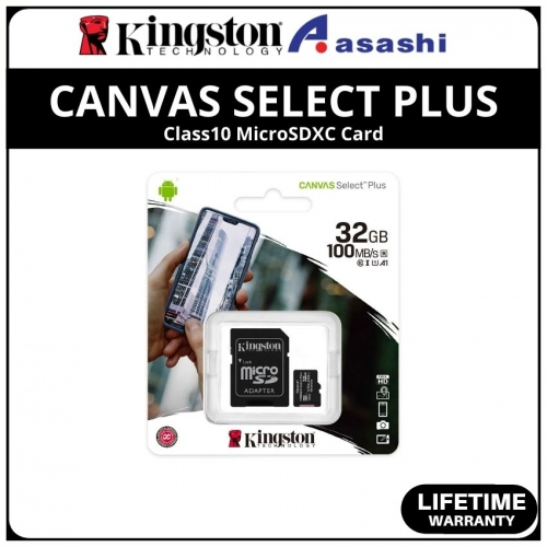 Kingston Canvas Select Plus 32GB 100R/10W Class10 MicroSDHC Card