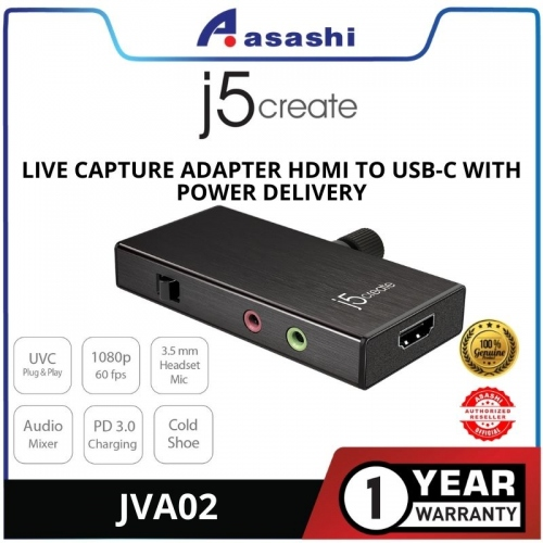 J5 JVA02 Live Capture Adapter HDMI to Type-C with Power Delivery @ 1080P 60FPS