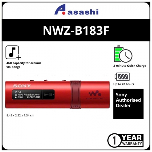 Sony NWZ-B183F/RC Red 4GB MP3 Player (1 yrs Limited Hardware Warranty)