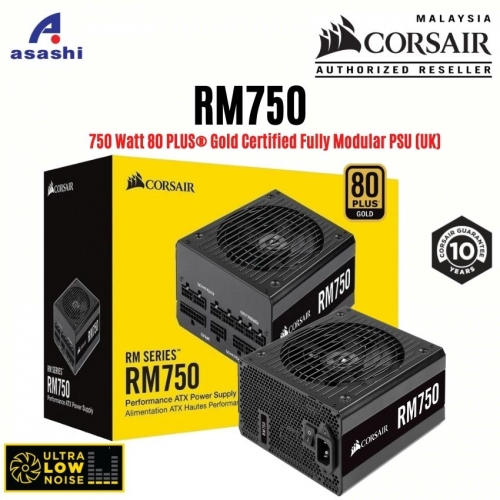 CORSAIR RM Series RM750 750w Power Supply - 80+ Gold, Fully Modular, Taiwan Capacitors, 10 Years Warranty