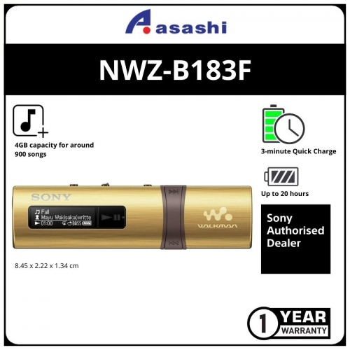 Sony NWZ-B183F/NC Gold 4GB Mp3 Player (1 yrs Limited Hardware Warranty)