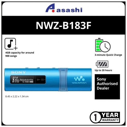 Sony NWZ-B183F/LC Blue 4GB Mp3 Player (1 yrs Limited Hardware Warranty)