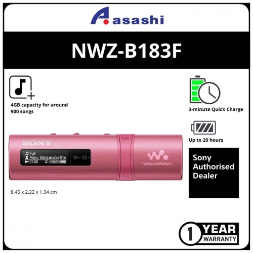 Sony NWZ-B183F/PC Pink 4GB Mp3 Player (1 yrs Limited Hardware Warranty)